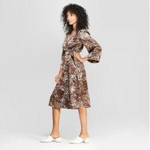 NWT Prologue Brown Pattern Wrap Dress w/ Belt